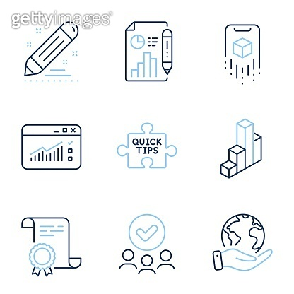 Web traffic, Report document and Augmented reality icons set. Quick tips, Brand contract and 3d chart signs. Vector