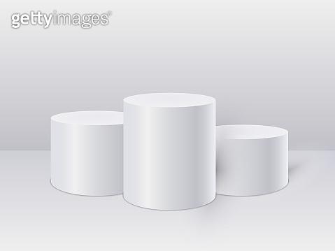 White cylinder template. 3d base stand podium or studio pedestal round platform showroom. Vector illustration
