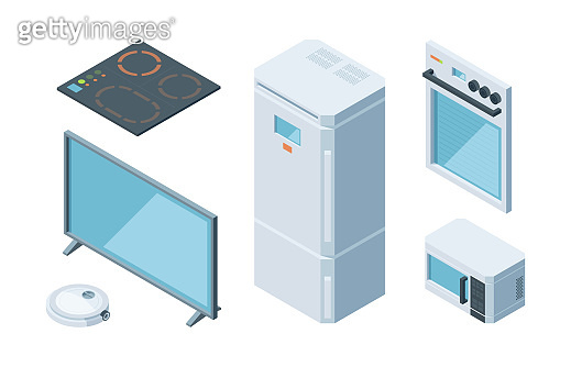 Kitchen isometric furniture set. Two chamber modern white refrigerator microwave plasma tv induction stove electric oven programmable vacuum cleaner. Vector isometric cartoon style.