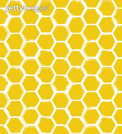Seamless pattern with hand drawn rough honeycombs