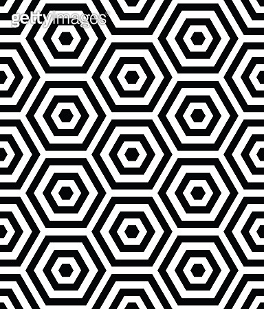 3d seamless pattern with hexagon black shapes