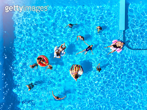 Aerial of friends having party in swimming pool with inflatable flamingo, swan, mattress. Happy young people relax at luxury resort on sunny day. View from above. Girls in bikini sunbathing in a sun