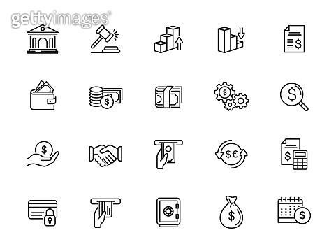 minimal finance line icon set