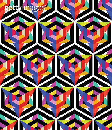 Seamless pattern with bright hexagon and triangle