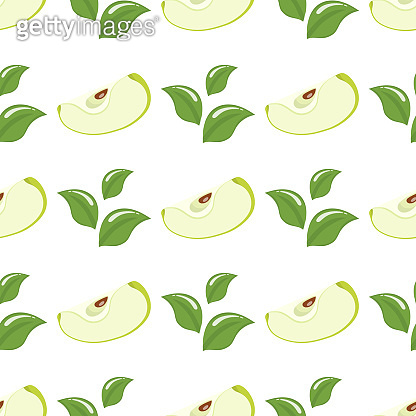 Seamless pattern with green slice apples and leaves on white background. Organic fruit. Cartoon style. Vector illustration for design, web, wrapping paper, fabric, wallpaper.