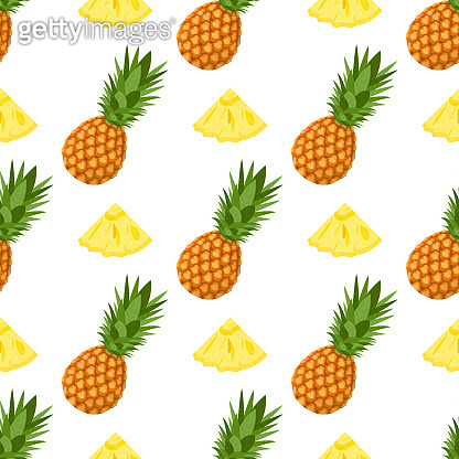 Seamless pattern with fresh whole and cut slices pineapple fruit with leaves on white background. Summer fruits for healthy lifestyle. Organic fruit. Cartoon style. Vector illustration for any design.