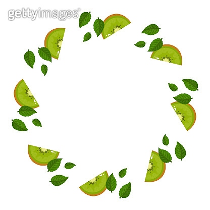 Wreath from green kiwi fruits with space for text. Cartoon organic sweet food. Summer fruits for healthy lifestyle. Vector illustration for any design.