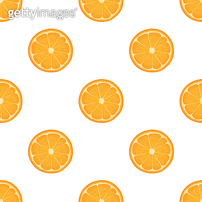 Seamless pattern with fresh bright exotic half cut tangerine or mandarin isolated on white background. Summer fruits for healthy lifestyle. Organic fruit. Vector illustration for any design.