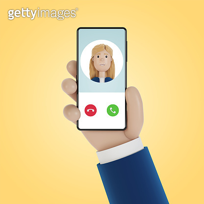 Incoming call on the smartphone screen. Service call. 3D illustration in cartoon style.