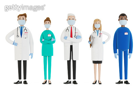 Doctors. A group of medical workers wearing two masks and wearing medical gloves. Chief physician and medical specialists. 3D illustration in cartoon style.