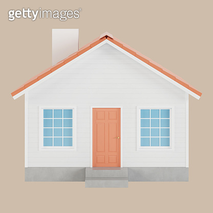 White house with red tiles icon. 3D illustration.