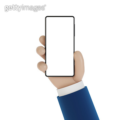 Phone in hand with blank screen. 3D illustration in cartoon style.