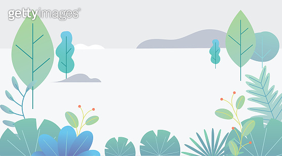 Flat design fantasy landscape. Trendy plants, mountains and nature in minimal style. Bushes, trees, flowers, leaves. Vector illustration.