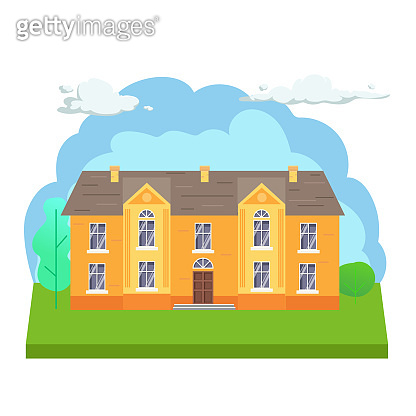 Flat town house illustration. Front view of cottage with trees and clouds. Modern cottage building vector illustration.