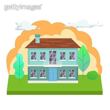 Flat town house illustration. Front view of cottage with trees and clouds. Modern apartment building vector illustration.