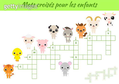 Crossword for kids. Crossword game with pictures. Kids activity worksheet colorful printable version. Educational game for study French words. Vector stock illustration.