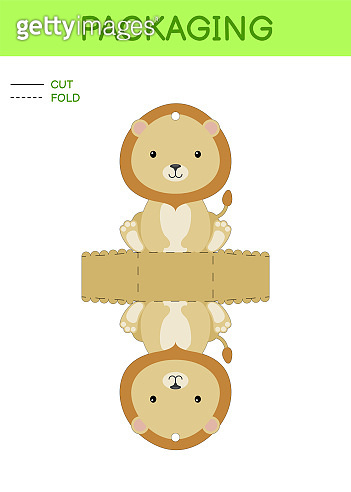 DIY party favor box die cut template design for birthdays, baby showers with cute lion for sweets, candies, small presents. Printable color scheme. Print, cut out, fold, glue. Vector illustration