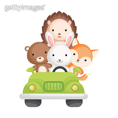 Cute rabbit, bear, fox and hedgehog travel in green car. Graphic element for childrens book, album, scrapbook, postcard, mobile game. Zoo theme.