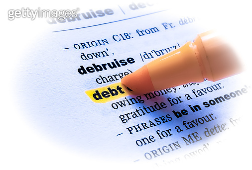 DEBT word in a dictionary