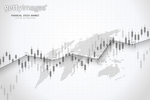 Stock market graph or forex trading chart for business and financial concepts, reports and investment . Vector illustration