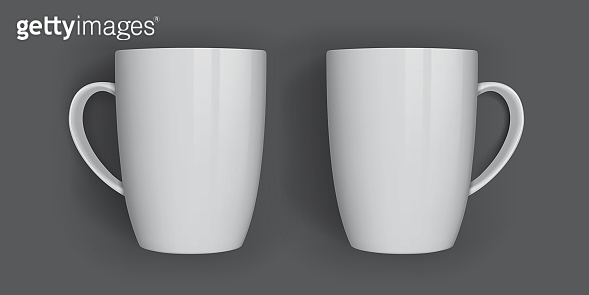 white mugs isolated on dark background top view view from different sides vector mock up
