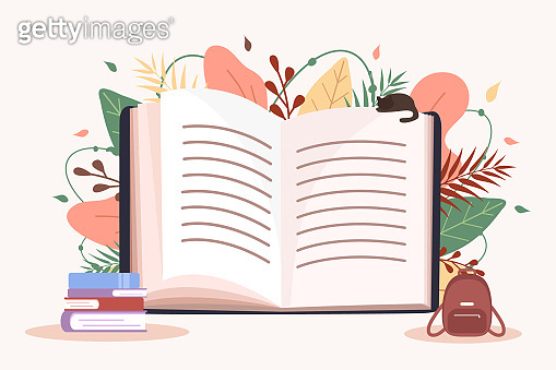 Open book. Education and reading concept. Book festival. Back to school. Modern vector illustration in flat style.