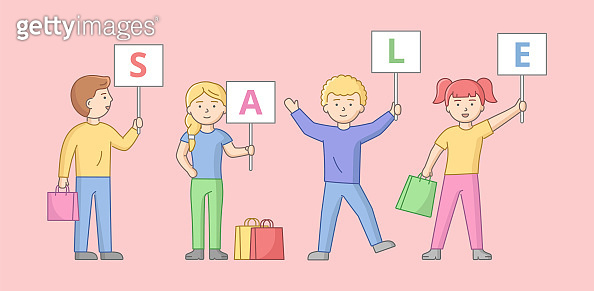 Big Sale Concept. Men And Women Shopping On Sale. Satisfied Characters Are Standing With Shopping Bags And Gifts Holding Plates With Sale Inscription. Cartoon Linear Outline Flat Vector Illustration