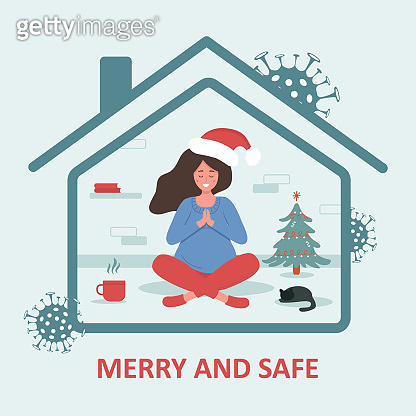 Christmas in covid-19 pandemic. Woman in santa hat with sitting in lotus position and celebrating Christmas. Merry and safe holidays. Quarantine or self-isolation. Trendy flat illustration.