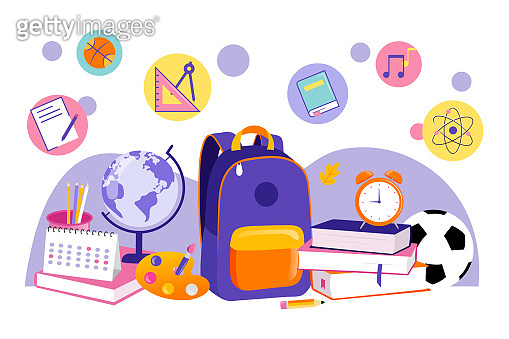 Back To School Concept. Cartoon Still Life Of School Items For Children Education. Backpack, Globe, Stack Of Books, Ball, Alarm, Calendar And Other Items In Shape Of Icons. Flat Vector Illustration