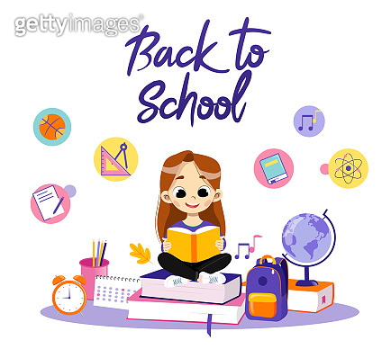 Concept Of Back To School. Clever Girl Sitting Among School Items In Surroundings Backpack And Globe, Calendar, Alarm And Reading The Book, Making Home task. Cartoon Flat Style. Vector Illustration
