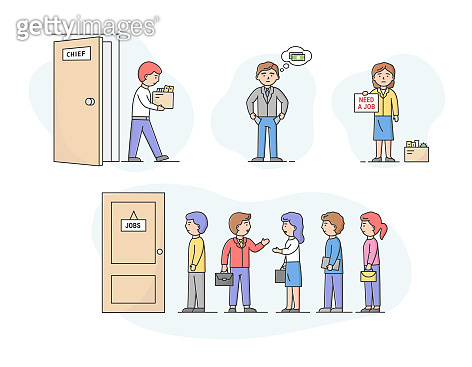 Concept Of Economic Crisis, Recruitment And Human Resources. Set Of People Candidates on Chair Are Looking For And Waiting In Queue For Job Interview. Cartoon Linear Outline Flat Vector Illustration