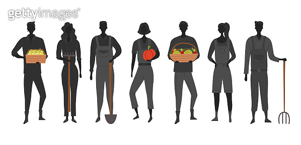 Concept Of Harvesting And Eco Farm Agriculture. Silhouettes Of Men And Women Are Standing On Farmyard With Rich Harvest In Hands. Harvesting Organic Food In the Farm. Cartoon Flat Vector Illustration