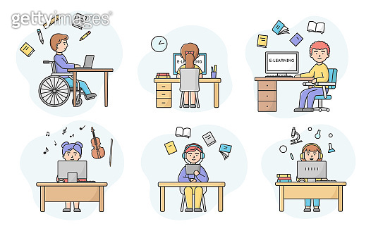 Concept Of E learning And Self Education. Set Of Men And Woman Educating Online. Characters Taking Online Remote Course On Different Topics. Cartoon Linear Outline Flat Style. Vector Illustration