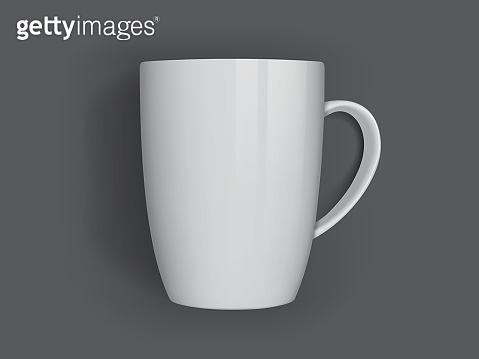 white mug isolated on dark background top view vector mock up