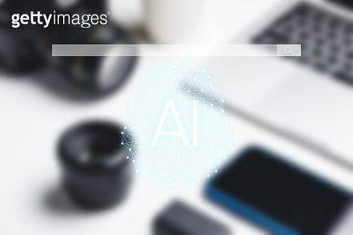 Concept information smart search. World community and Neural network. New minimal creative concept. Searching information data on internet networking concept. AI(Artificial Intelligence)