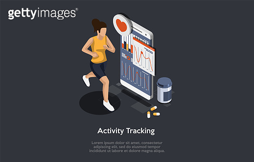 Sport Nutrition And Health Care Concept. Young Sports Woman Jogging, Monitoring Indicators On Smartphone Screen. Girl Controls Pulse, Pressure, Distance Indicators. Isometric 3D Vector Illustration