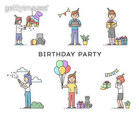 Childhood Birthday Party Celebration Concept. Set Of People Preparing Decorations Or Receiving Gifts. Happy Smiling Man And Woman Celebrating Holiday. Cartoon Linear Outline Flat Vector Illustration