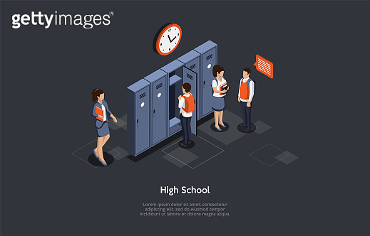 Studying And Education Concept. High School Break Isometric Composition. Male And Female Characters Of Students Communicate In Hallway During Time Of Break. Colorful 3d Isometric Vector Illustration