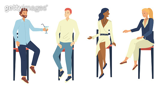 People Communications Concept. Group Of People Have A Good Time Communicating Sitting On Bar Chairs. Male And Female Characters Talking, Drinking Alcohol Cocktails. Cartoon Flat Vector Illustration