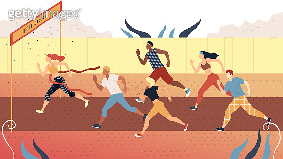 Concept Of Sports Competition Of Jogging. Sportsmen Dressed in Sports Clothes Running Marathon Or Sprint Race On Track. Woman Champion Crossed Finish Line. Cartoon Flat Style. Vector Illustration