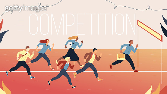 Concept Of Business Marketing Strategies, Teamwork And Competition. Metaphor Of Business Challenge Of Running Multiethnic Business People Group To The Goal. Cartoon Flat Style. Vector Illustration