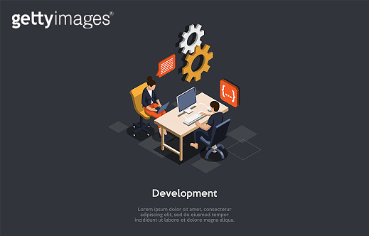 Information Technology And Software Development Company Concept. Software Developers Own Process Of Transforming Data Into A Mobile App Or Website Product. Colorful 3d Isometric Vector Illustration