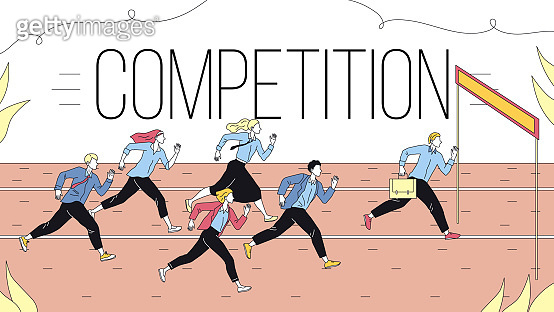 Concept Of Business Marketing Strategies, Teamwork And Competition. Metaphor Of Business Challenge Of Running Business People Group To The Goal. Cartoon Linear Outline Flat Style. Vector Illustration
