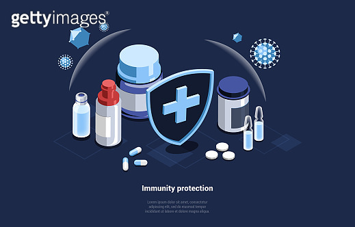 Medicines For Immunity Protection, Conceptual Vector Art On Dark Background. Isometric Illustration In Cartoon 3D Style With Writings. Different Medical Supplies And Hospital Shield, Viruses Outside