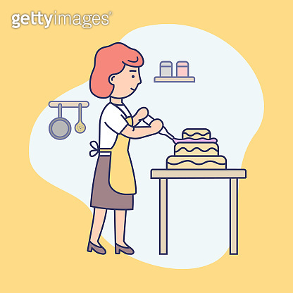 Happy Girl Is Cooking Food At The Kitchen, Baking And Decorating Tasty Pie. Female Character Is Decorating Cake By Cream With Cooking Syringe. Cartoon Flat Style. Outline Linear Vector Illustration