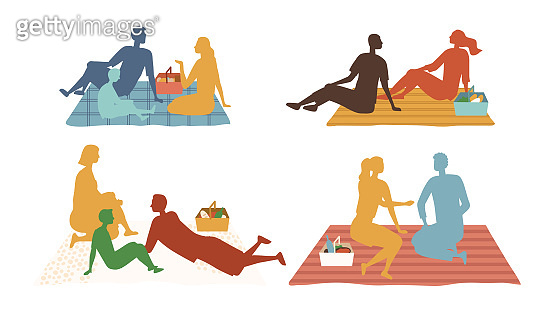 Family Picnic Concept. Multi colored Silhouettes Of Characters Have Fun, Relax, Enjoy Free Time, Communicating To Each Other. Set Of Families On Vacations Together. Cartoon Flat Vector illustration