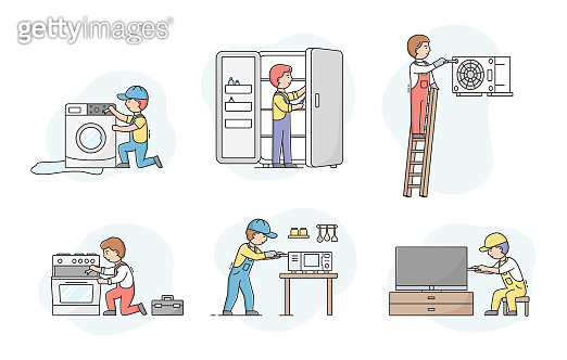Concept Of Electric Appliances Service. Set Of Professional Workers Repairmen In Uniform, Fixing Devices. Characters Repair Broken Kitchen Appliances. Cartoon Linear Outline Flat Vector Illustration