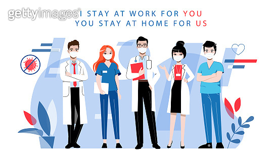 Health Care And Medicine Concept. Team Of Doctors In Uniform Men And Women Working Together And Advise People To Stay At Home During Quarantine. Cartoon Linear Outline Flat Style. Vector Illustration