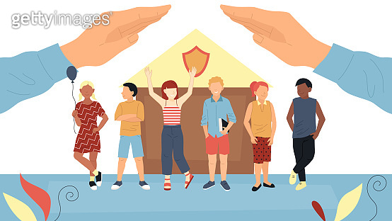 Concept Of Children s Day, Protection Of Kids, Health Insurance And Childhood. Group Of Happy Kids Or Teens Standing Together, Big Hands Covering Them Above. Cartoon Flat Style. Vector Illustration