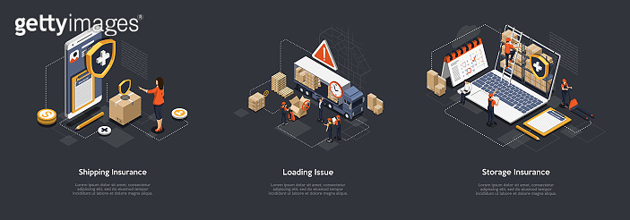 Isometric Shipping Insurance, Loading Issue, Storage Insurance. Workers Work In Warehouse, Storage Goods, Sort, Give Out Cargo Avoiding Of Insurance Event. Safe Storage Guarantee. Vector Illustration